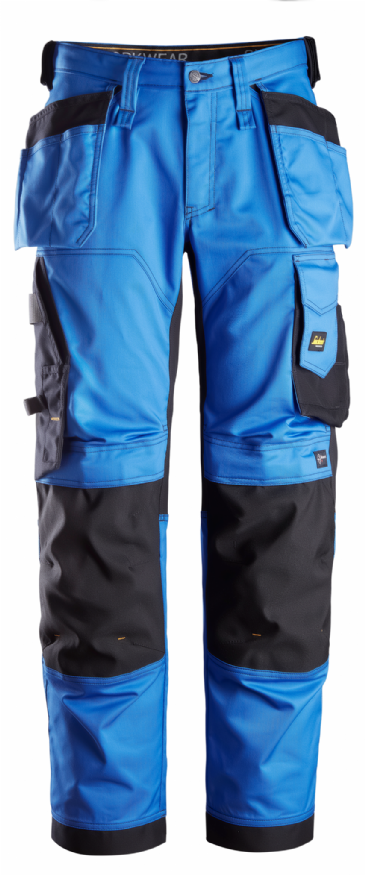 Snickers 6251 AllroundWork Stretch Loose fit Work Trousers Holster Pockets (True Blue/Black)
